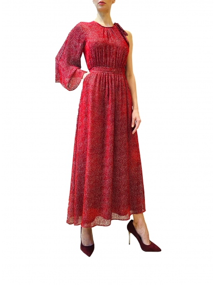 ASYMMETRIC VELVET KAFTAN DRESS