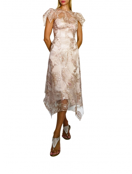 EMBROIDERED TULLE V-21 MIDI DRESS