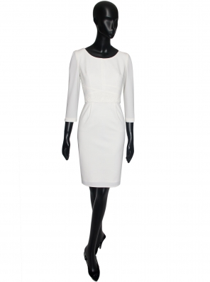 STRETCH AND GUIPUR WOOD STRAIGHT DRESS