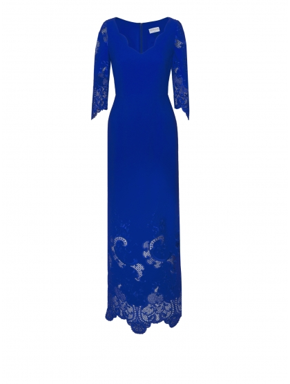 CADY STRETCH AND RICAMATO LONG DRESS