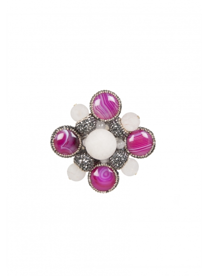 CROSS FACETED CRYSTAL BROOCH