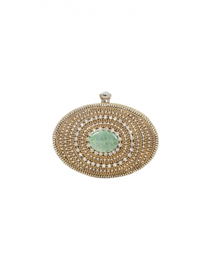 GOLD OVAL SHAPE CLUTCH